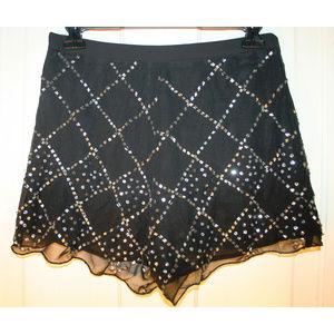 Beaded sequined chiffon shorts